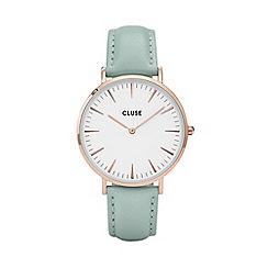 Cluse - Ladies' rose gold and mint 'la boheme' leather strap watch