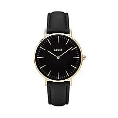 Cluse - Ladies' gold and black 'la boheme' leather strap watch