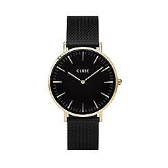 Cluse - Ladies' gold and black 'la boheme' mesh strap watch