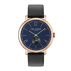 Ted Baker - Gents black leather strap watch