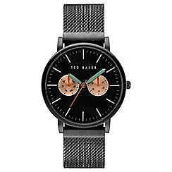 Ted Baker - Gents black stainless steel mesh bracelet watch