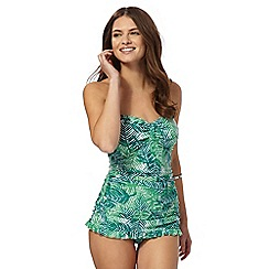 Beach Collection - Green palm print tummy control skirt swimsuit