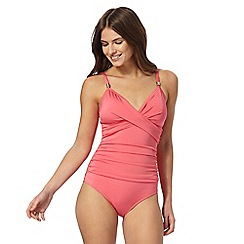 Beach Collection - Pink plain twist front tummy control swimsuit