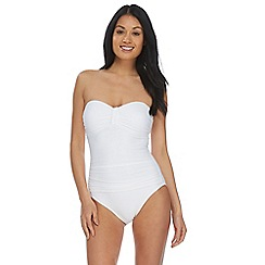 Beach Collection - White bandeau tummy control swimsuit