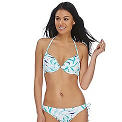 Beach Collection - White leaves twist underwired bikini top