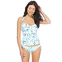 Beach Collection - White leaves print halter neck tankini top