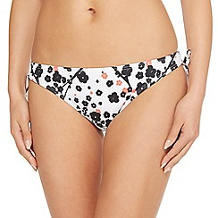 Beach Collection - White Japanese floral tie sides bikini bottoms