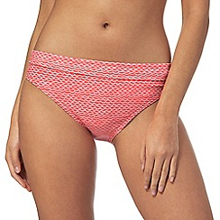 Beach Collection - Coral patterned fold detail bikini bottoms