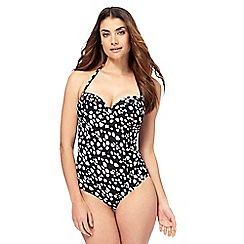Gorgeous DD+ - Black spot print underwired swimsuit