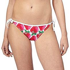 Red Herring - Red strawberry print bikini bottoms