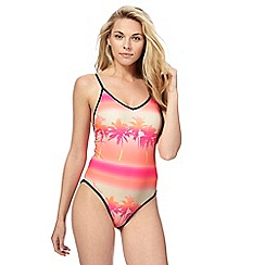 Red Herring - Orange sunset print swimsuit
