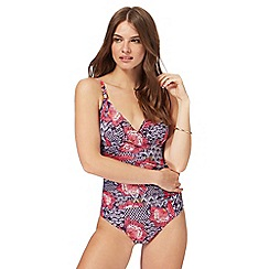 Beach Collection - Purple floral print tummy control swimsuit