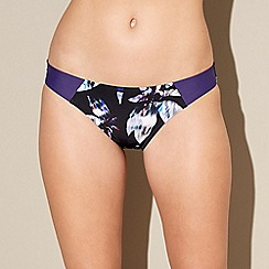 Beach Collection - Multi-coloured floral feather print bikini bottoms