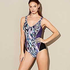Beach Collection - Multi-coloured floral feather print swimsuit