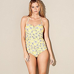 Beach Collection - Yellow floral print bandeau swimsuit
