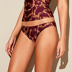 J by Jasper Conran - Maroon okapi print high leg bikini bottoms
