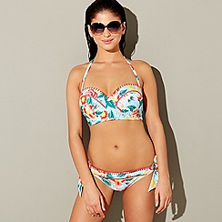 Floozie by Frost French - Blue rose pinstripe bandeau bikini top