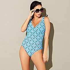 Beach Collection - Blue diamond print tummy control swimsuit