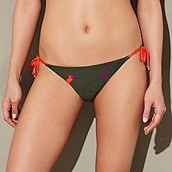 J by Jasper Conran - Multi-coloured geometric print high leg bikini bottoms