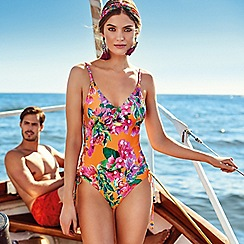 MW by Matthew Williamson - Orange floral cutout plunge swimsuit