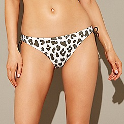 Beach Collection - Multi-coloured leopard print tie-side bikini bottoms