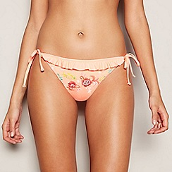 MW by Matthew Williamson - Orange floral embroidered tie-side bikini bottoms