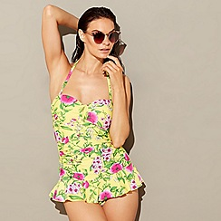 Beach Collection - Yellow floral print halterneck skirted swimsuit