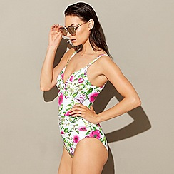 Beach Collection - White floral print fold over swimsuit