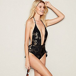 Faith - Black paisley print 'Mystique' halterneck plunge swimsuit