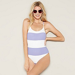 Faith - Lilac and white stripe swimsuit