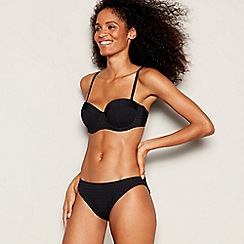 J by Jasper Conran - Black Spot Textured Underwired Padded Bikini Top