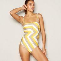 853266dca42c9 J by Jasper Conran - Yellow zig zag print padded bandeau swimsuit