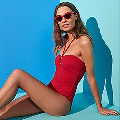 Beach Collection - Red Ribbed Tummy Control Bandeau Swimsuit