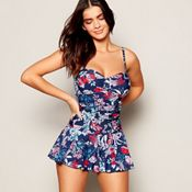 f7de99b03f08b Beach Collection - Navy Floral Print 'Lily' Tummy Control Skirted Swimsuit