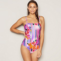 Mantaray - Multicoloured floral stripe print bandeau swimsuit