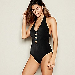 MW by Matthew Williamson - Black ribbed plunge halterneck swimsuit