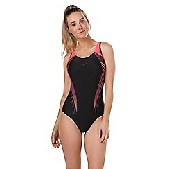 Speedo - Black and Red Fit Laneback Swimsuit