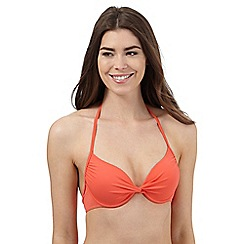 Beach Collection - Coral twist front underwired bikini top