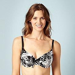 Panache - Black floral print bikini top
