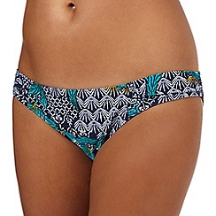 Beach Collection - Turquoise floral print regular bikini bottoms