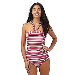 Beach Collection - Multi-coloured striped print tankini top