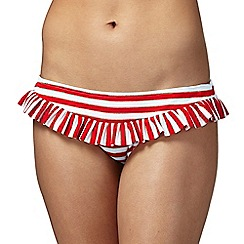 Floozie by Frost French - Red striped frilled trim bikini bottoms