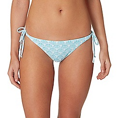 Reger by Janet Reger - Blue shell print bead embellished bikini bottoms
