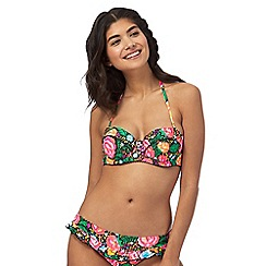 Floozie by Frost French - Multi-coloured rose print underwired bikini top