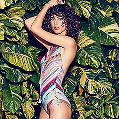Butterfly by Matthew Williamson - Multi-coloured Aztec print halter neck swimsuit