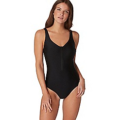 Beach Collection - Black zip front swimsuit