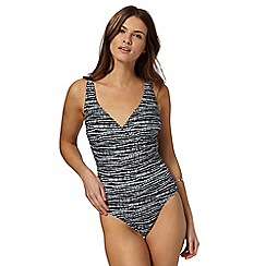 Beach Collection - Black textured stripe wrap tummy control swimsuit