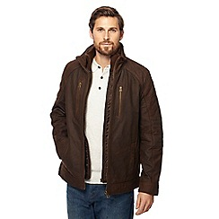 065010101473: Brown mock Harrington leather jacket