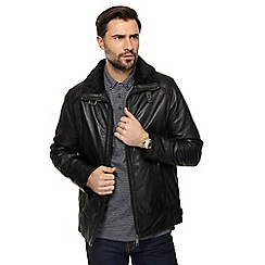 RJR.John Rocha - Black leather faux fur collar jacket