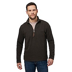 RJR.John Rocha - Big and tall brown ribbed funnel zip neck sweater